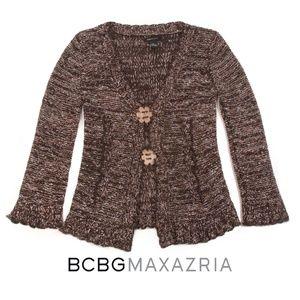 BCBG Maxazria Brown Tan Flower Button Cardigan - L
